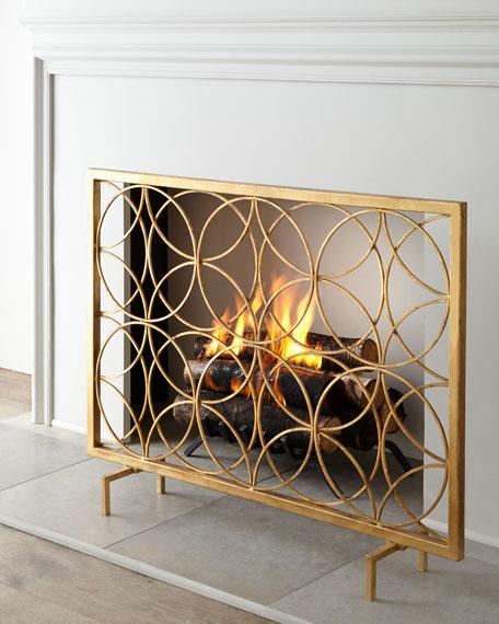 venn circles fireplace screen