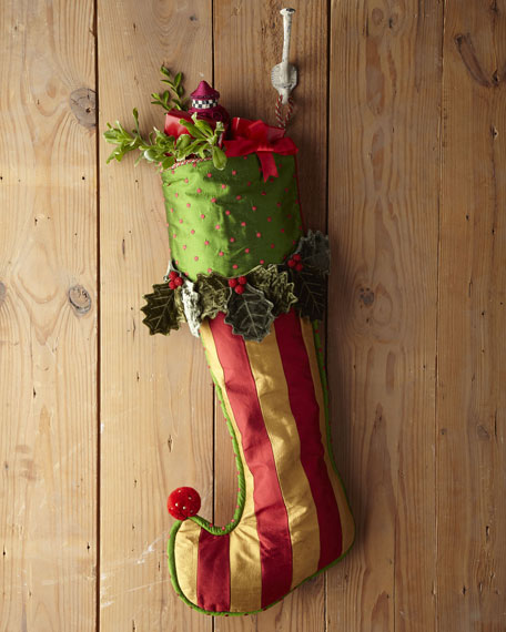 Holly & Berry Large Stripe Stocking