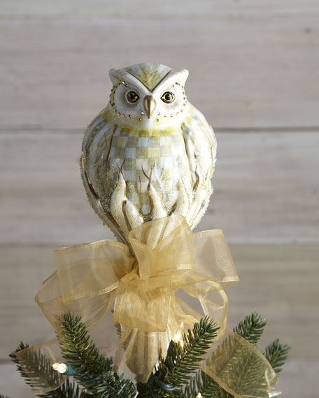MacKenzie-Childs Parchment Check Owl Christmas Tree Topper