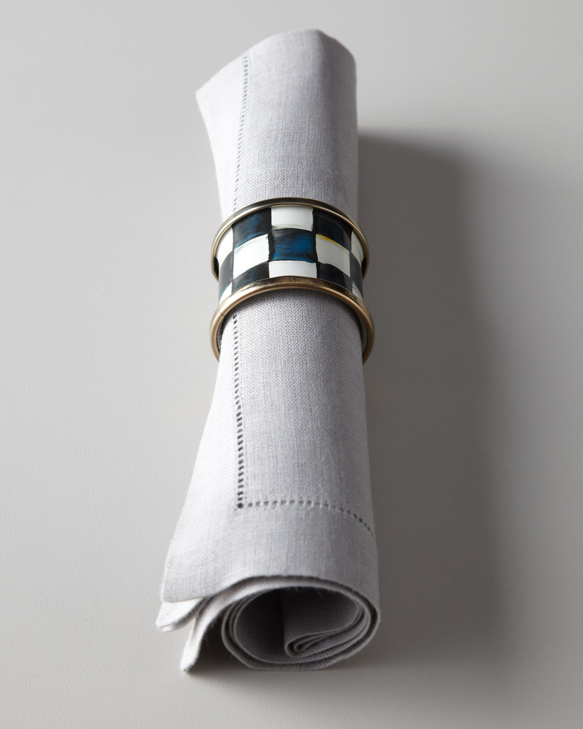 Mackenzie Childs Four Courtly Check Napkin Rings
