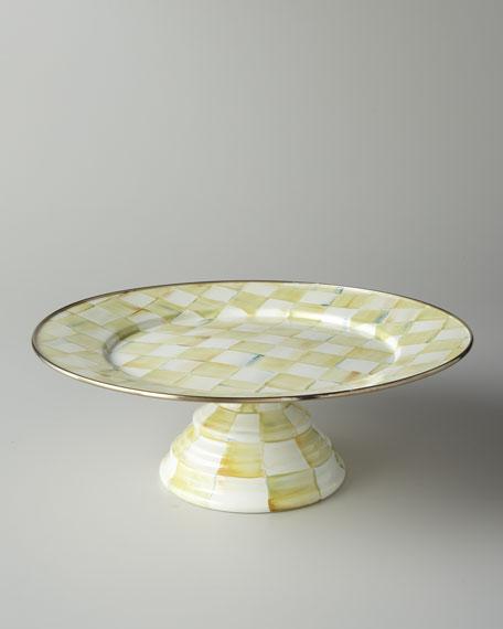 Parchment Check Large Pedestal Platter