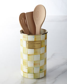 MacKenzie-Childs Parchment Check Utensil Holder