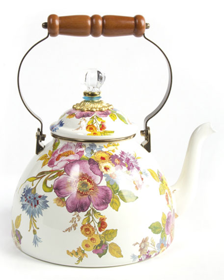3-Quart White Flower Market Tea Kettle