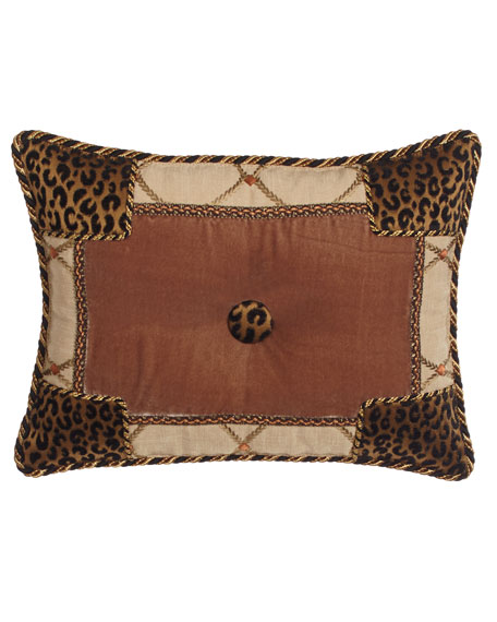 "Casablanca Animal-Print Pieced Pillow, 13"" x 17"""