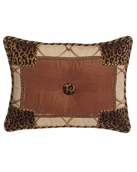 """Casablanca Animal-Print Pieced Pillow, 13"""" x 17"""""""