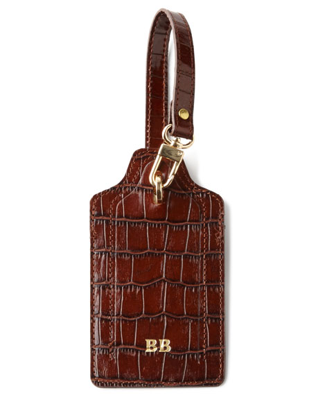 Crocodile-Embossed Luggage Tag