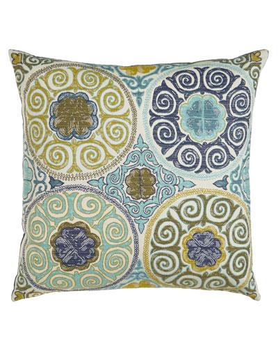 Azure Medallions Pillow