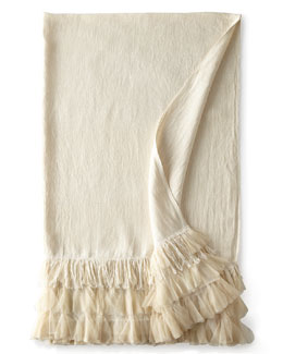 """Couture Dreams Ivory Linen Chichi Throw, 50"""" x 70"""""""