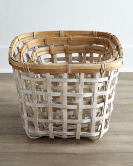 Three Open-Weave Rattan Baskets