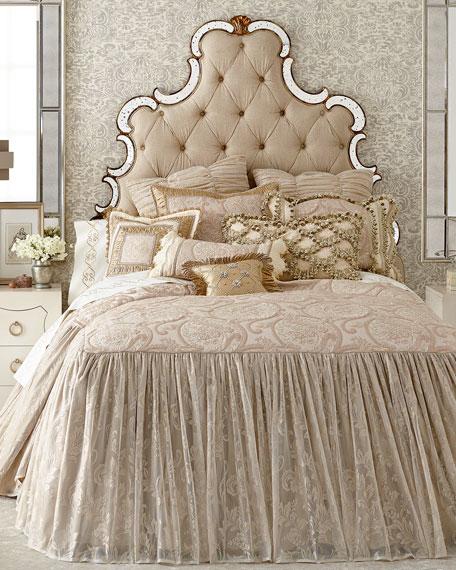 """Kensington Garden Silk Pillow with Buttons, 13""""Sq."""