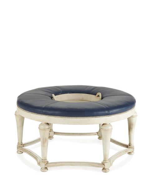 Timons Round Navy Leather Ottoman
