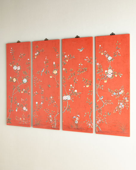 Coral Kariya Floral Wall Panels, Four