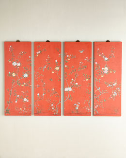 NM EXCLUSIVE Coral Kariya Floral Wall Panels, Four