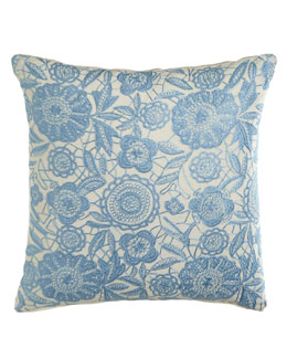 "Sabira Light Blue Floral ""Lace"" Pillow"