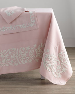 "Dori Pink Tablecloth, 108"" Round"