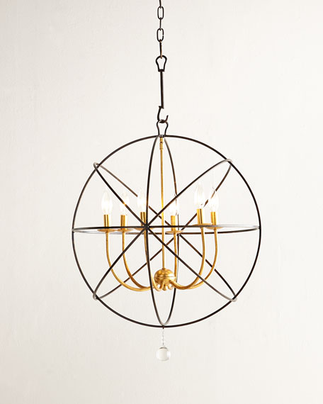 Crystorama Gold Orbit 6-Light Chandelier