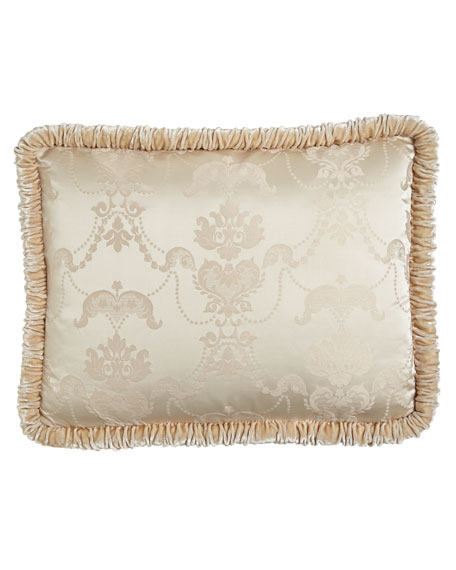 King Le Creme Maison Damask Sham with Shirred Velvet Welt