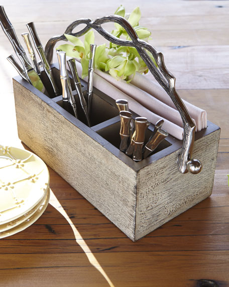 Weathered Wood Flatware Caddy