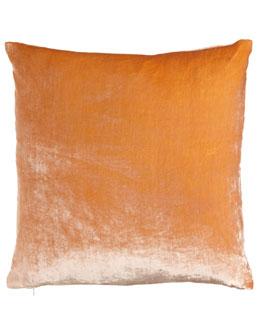 """Dransfield & Ross Coral Velvet Pillow, 24""""Sq."""
