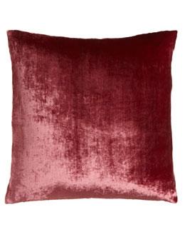 """Dransfield & Ross Raspberry Velvet Pillow, 22""""Sq."""