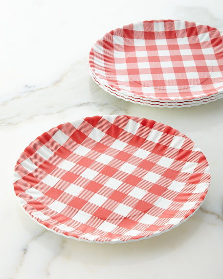 Four Gingham Melamine Plates & Melamine \