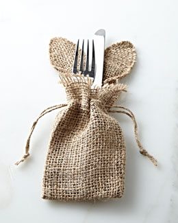 Mud Pie Bunny Ears Burlap Silverware Holder