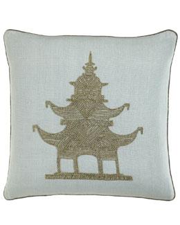 Jonathan Adler Beaded Linen Pagoda Pillow