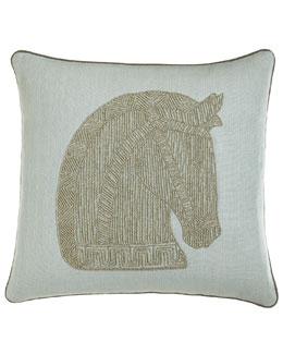 Jonathan Adler Beaded Linen Horse Pillow