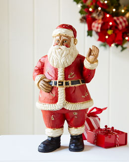 Waving Wood Santa