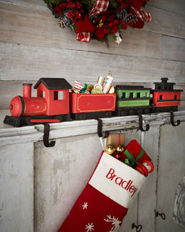 Four Train Christmas Stocking Hooks
