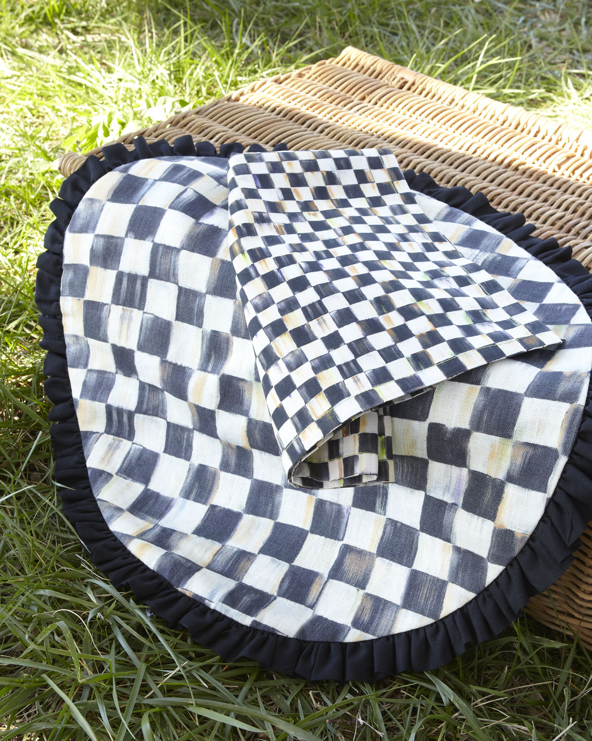 Mackenzie Childs Courtly Check Round Placemat With Black Ruffle