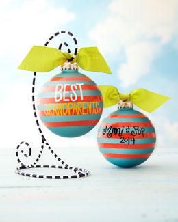 Coton Colors Best Grandparents Stripe Personalized Christmas Ornament