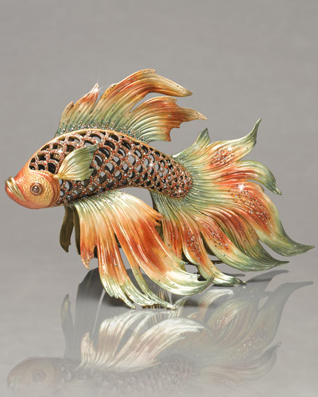 Jay strongwater namiko japanese fighting fish figurine for Japanese fighter fish