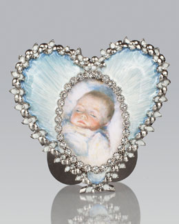 Jay Strongwater Dominique Pale Blue Oval in Heart Frame
