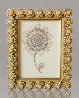 "Jay Strongwater Golden ""Flower Gemstone"" Photo Frame"