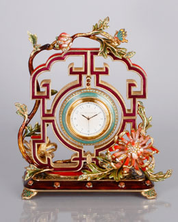 Jay Strongwater Chrysanthemum Clock