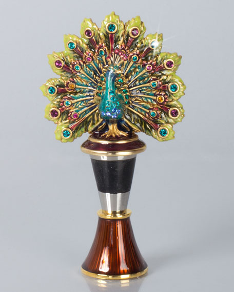 Hayden Peacock Wine Stopper with Holder