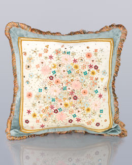 "Jay Strongwater Mille Fiori 18""Sq. Pillow"