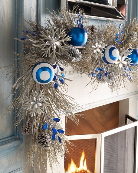 Blue 6 Christmas Garland
