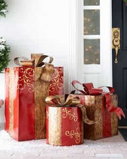 Three Metal Christmas Presents