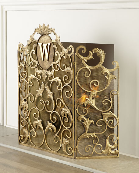 Augusta Monogrammed Fireplace Screen