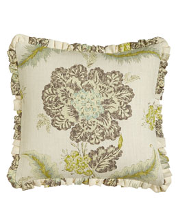 """Traditions Linens Ruffled Floral Pillow, 18""""Sq."""