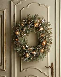 "Frosted Gold 30"" Christmas Wreath"