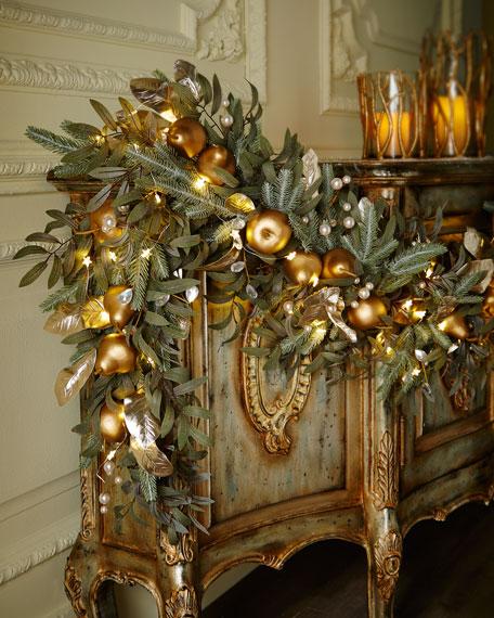 frosted gold 6 christmas garland