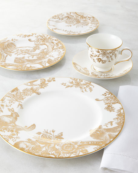 Five-Piece Gilded Forest Dinnerware Place Setting