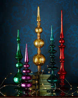 Five Colored Glass Finials