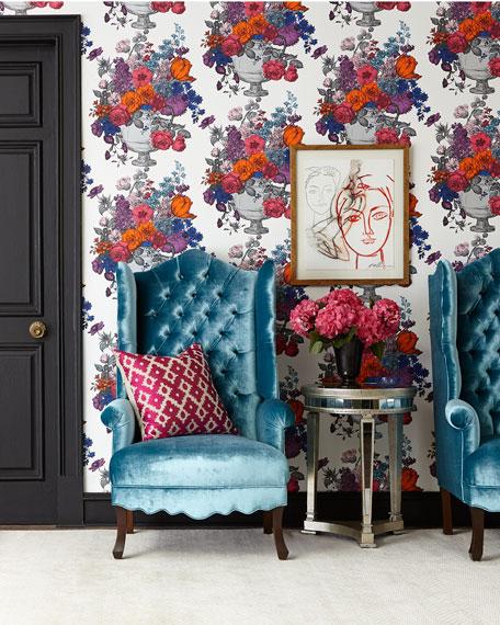 Peacock Velvet Wing Chair