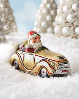 Vaillancourt Folk Art Santa in Golden Car Figure