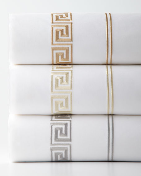 King Greek Key Embroidered 200 Thread-Count Flat Sheet