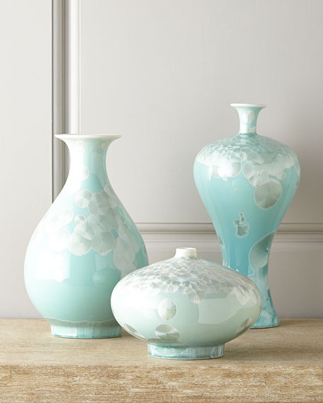 John Richard Collection Three Swirling Leaves Aqua Vases